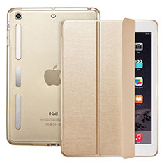 Cover Portafoglio In Pelle con Supporto L05 per Apple iPad Mini 3 Oro