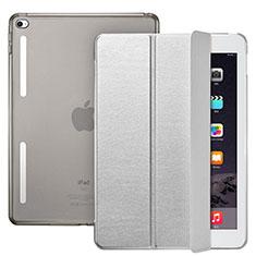 Cover Portafoglio In Pelle con Supporto L06 per Apple iPad Mini 4 Argento