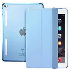 Cover Portafoglio In Pelle con Supporto L06 per Apple iPad Mini 4 Cielo Blu