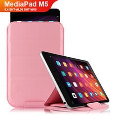 Cover Portafoglio In Pelle con Supporto L06 per Huawei MediaPad M5 8.4 SHT-AL09 SHT-W09 Rosa