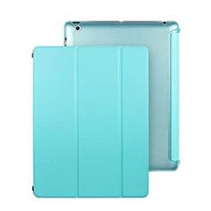 Cover Portafoglio In Pelle con Supporto per Apple iPad 2 Cielo Blu