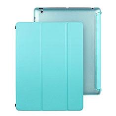 Cover Portafoglio In Pelle con Supporto per Apple iPad 3 Cielo Blu