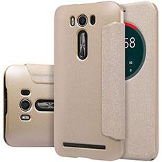 Cover Portafoglio In Pelle con Supporto per Asus Zenfone 2 Laser 6.0 ZE601KL Oro