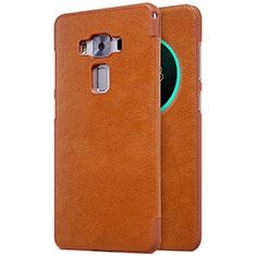 Cover Portafoglio In Pelle con Supporto per Asus Zenfone 3 Deluxe ZS570KL ZS550ML Marrone