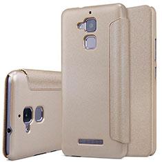 Cover Portafoglio In Pelle con Supporto per Asus Zenfone 3 Max Oro