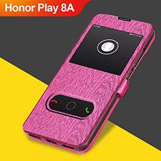 Cover Portafoglio In Pelle con Supporto per Huawei Honor Play 8A Rosa Caldo