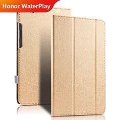Cover Portafoglio In Pelle con Supporto per Huawei Honor WaterPlay 10.1 HDN-W09 Oro