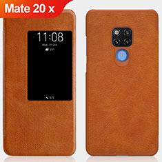 Cover Portafoglio In Pelle con Supporto per Huawei Mate 20 X Marrone