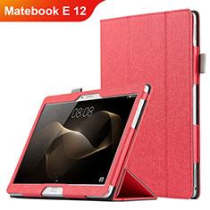 Cover Portafoglio In Pelle con Supporto per Huawei Matebook E 12 Rosso
