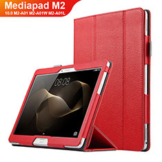 Cover Portafoglio In Pelle con Supporto per Huawei MediaPad M2 10.0 M2-A01 M2-A01W M2-A01L Rosso