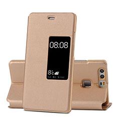 Cover Portafoglio In Pelle con Supporto per Huawei P9 Oro