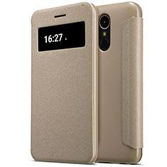 Cover Portafoglio In Pelle con Supporto per LG K10 (2017) Oro