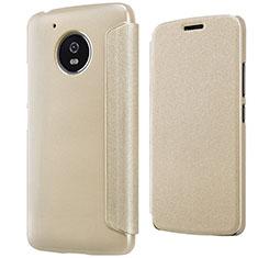 Cover Portafoglio In Pelle con Supporto per Motorola Moto G5 Oro