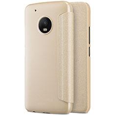 Cover Portafoglio In Pelle con Supporto per Motorola Moto G5 Plus Oro