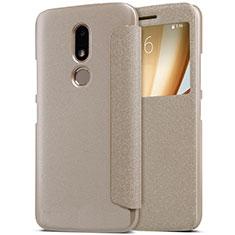 Cover Portafoglio In Pelle con Supporto per Motorola Moto M XT1662 Oro