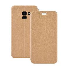 Cover Portafoglio In Pelle con Supporto per Samsung Galaxy A5 (2018) A530F Oro