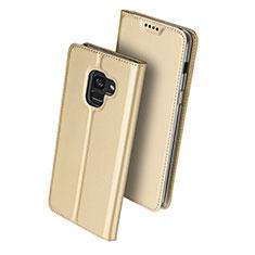 Cover Portafoglio In Pelle con Supporto per Samsung Galaxy A8 (2018) Duos A530F Oro