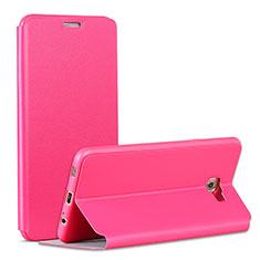 Cover Portafoglio In Pelle con Supporto per Samsung Galaxy C7 Pro C7010 Rosa Caldo