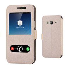 Cover Portafoglio In Pelle con Supporto per Samsung Galaxy J3 (2016) J320F J3109 Oro