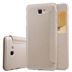 Cover Portafoglio In Pelle con Supporto per Samsung Galaxy J5 Prime G570F Oro