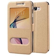 Cover Portafoglio In Pelle con Supporto per Samsung Galaxy J7 Prime Oro