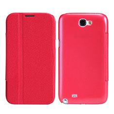 Cover Portafoglio In Pelle con Supporto per Samsung Galaxy Note 2 N7100 N7105 Rosso