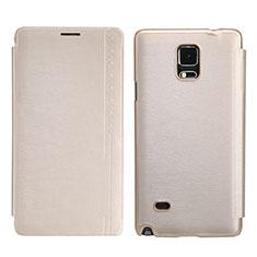 Cover Portafoglio In Pelle con Supporto per Samsung Galaxy Note 4 Duos N9100 Dual SIM Oro