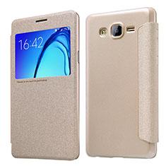 Cover Portafoglio In Pelle con Supporto per Samsung Galaxy On5 G550FY Oro