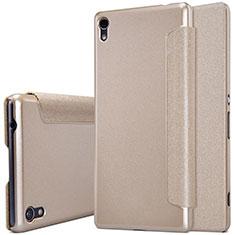 Cover Portafoglio In Pelle con Supporto per Sony Xperia XA Ultra Oro