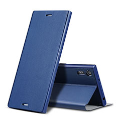 Cover Portafoglio In Pelle con Supporto per Sony Xperia XZ Blu