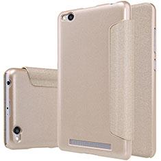 Cover Portafoglio In Pelle con Supporto per Xiaomi Redmi 3 Oro