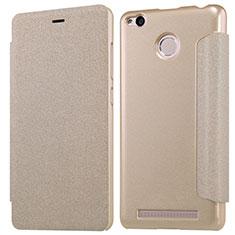 Cover Portafoglio In Pelle con Supporto per Xiaomi Redmi 3 Pro Oro
