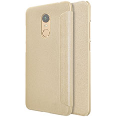 Cover Portafoglio In Pelle con Supporto per Xiaomi Redmi Note 5 Indian Version Oro
