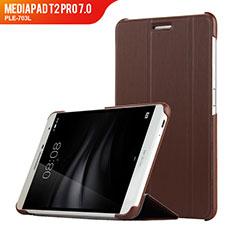 Cover Portafoglio In Pelle con Supporto R01 per Huawei MediaPad T2 Pro 7.0 PLE-703L Marrone