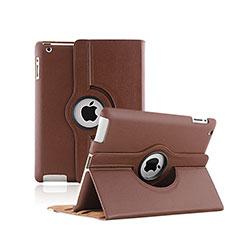 Cover Portafoglio In Pelle con Supporto Rotazione per Apple iPad 2 Marrone