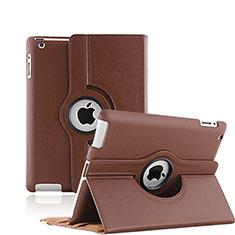 Cover Portafoglio In Pelle con Supporto Rotazione per Apple iPad 3 Marrone