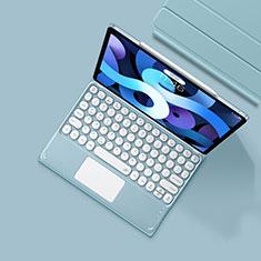 Cover Portafoglio In Pelle con Tastiera K01 per Apple iPad Air 4 10.9 (2020) Azzurro