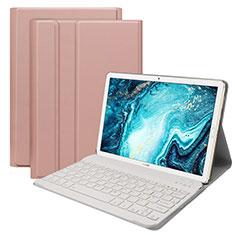 Cover Portafoglio In Pelle con Tastiera K01 per Huawei MatePad 10.8 Oro Rosa