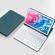 Cover Portafoglio In Pelle con Tastiera per Huawei MatePad 10.8 Ciano