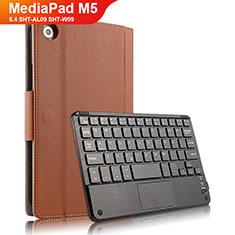 Cover Portafoglio In Pelle con Tastiera per Huawei MediaPad M5 8.4 SHT-AL09 SHT-W09 Marrone