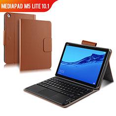Cover Portafoglio In Pelle con Tastiera per Huawei MediaPad M5 Lite 10.1 Marrone