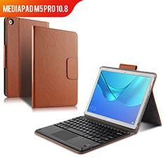 Cover Portafoglio In Pelle con Tastiera per Huawei MediaPad M5 Pro 10.8 Marrone
