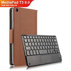 Cover Portafoglio In Pelle con Tastiera per Huawei MediaPad T3 8.0 KOB-W09 KOB-L09 Marrone