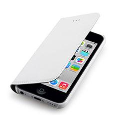 Cover Portafoglio In Pelle per Apple iPhone 5C Bianco