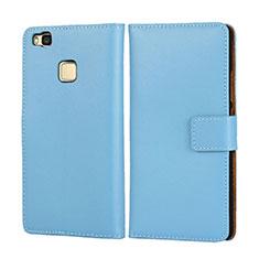 Cover Portafoglio In Pelle per Huawei P9 Lite Cielo Blu