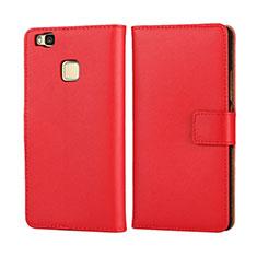 Cover Portafoglio In Pelle per Huawei P9 Lite Rosso