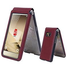 Cover Portafoglio In Pelle per Samsung W(2016) Rosso
