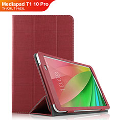 Cover Portafoglio In stoffa con Supporto per Huawei Mediapad T1 10 Pro T1-A21L T1-A23L Rosso