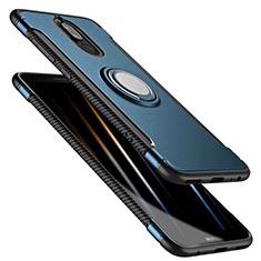 Cover Silicone e Plastica Opaca con Anello Supporto per Huawei G10 Blu