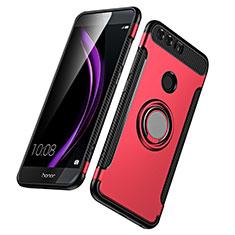 Cover Silicone e Plastica Opaca con Anello Supporto per Huawei Honor 8 Rosso